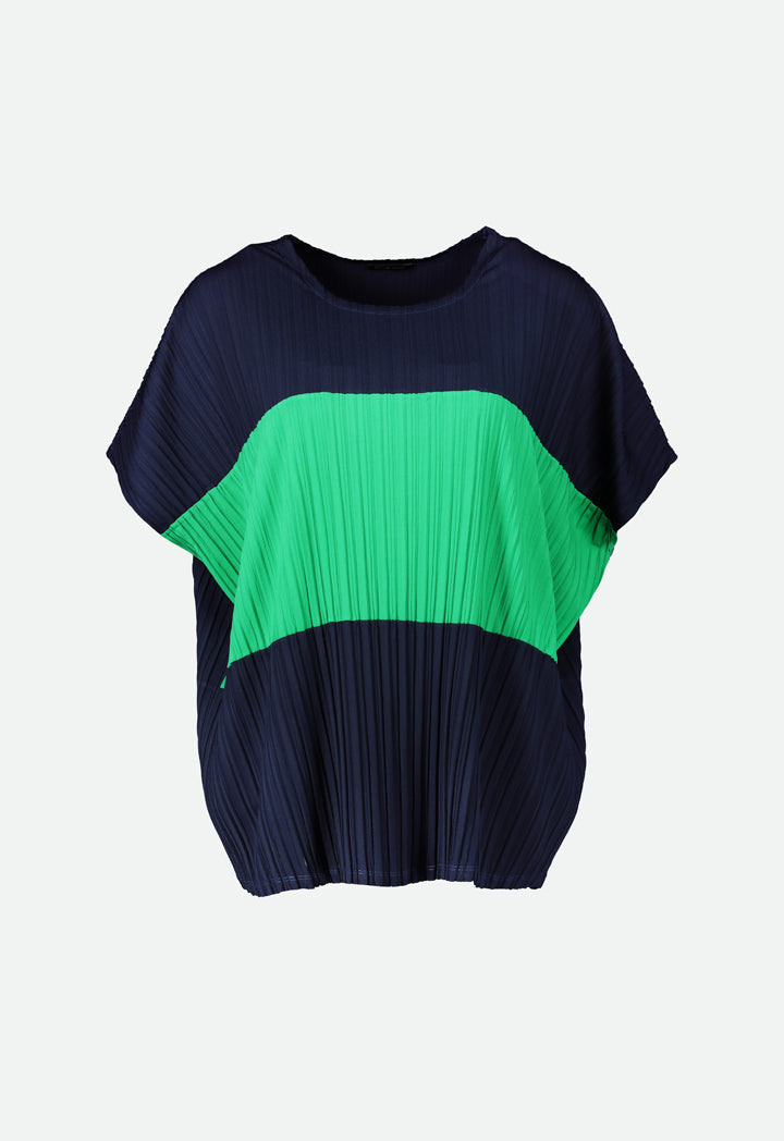 Choice Box Pleated Jersey Blouse  Navy-Green
