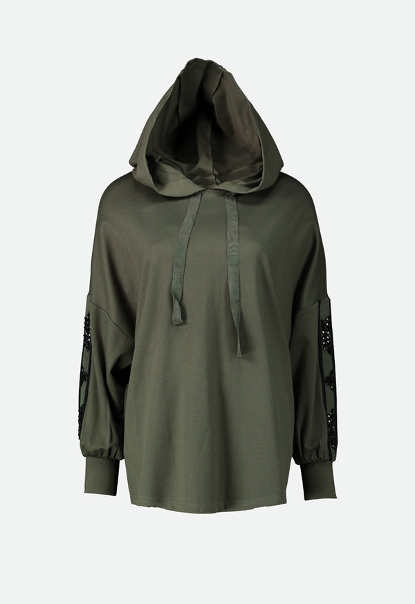 Choice Hooded Casual Top  Olive