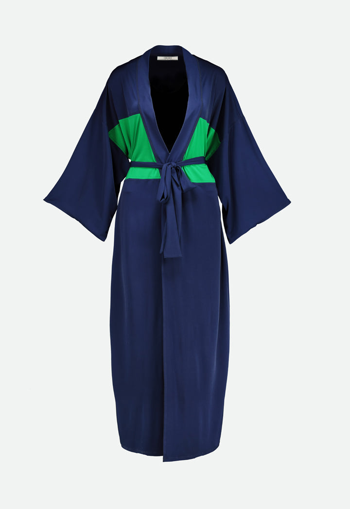 Choice Jersey Long Kimono Navy-Green