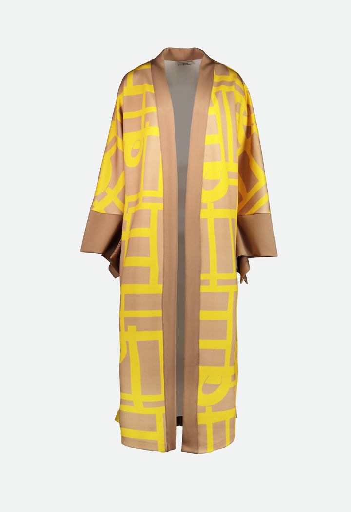 Choice Printed Maxi Outerwear Beige