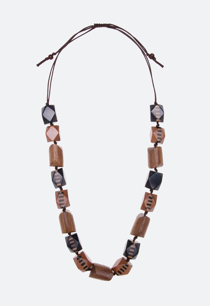 Choice Wooden Geometric Beads Necklace Black/Brown - Wardrobe Fashion