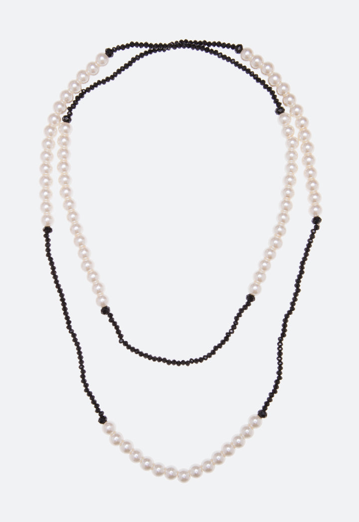 Choice Mixed Beads Long Strand Necklace White-Black - Wardrobe Fashion