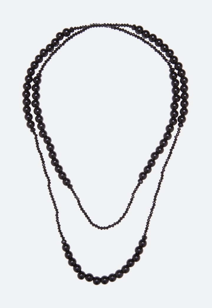 Choice Mixed Beads Long Strand Necklace Black - Wardrobe Fashion