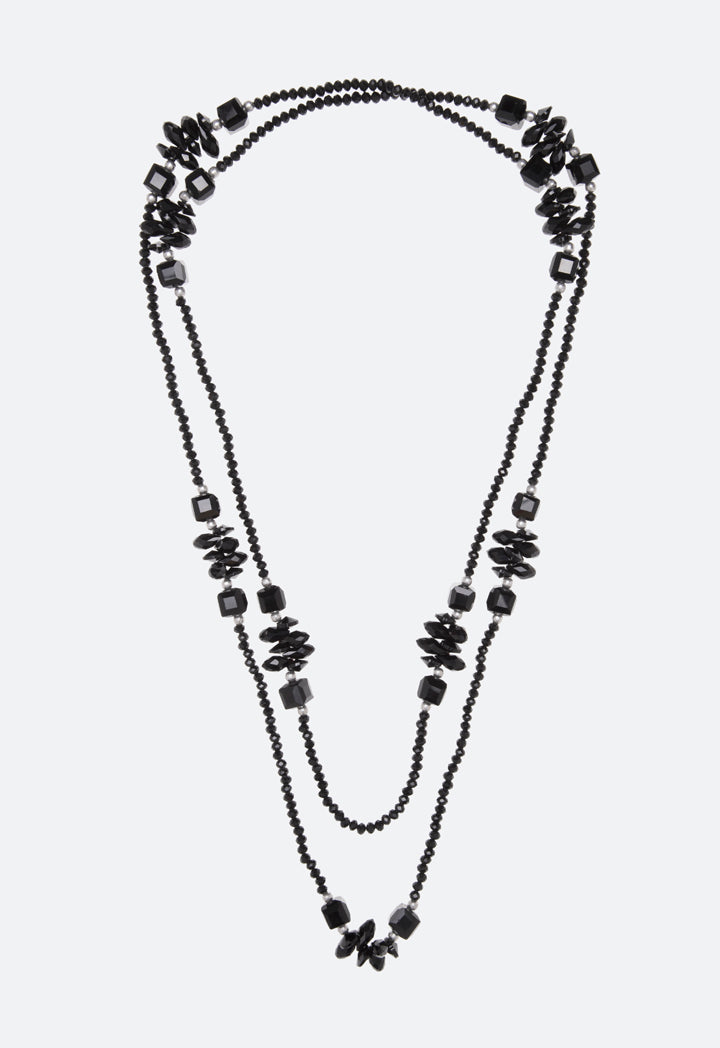 Choice Long Strand Small Beads Necklace Black - Wardrobe Fashion