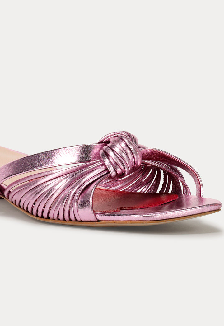 Choice Knot Strap Open Toe Sandals Pink - Wardrobe Fashion