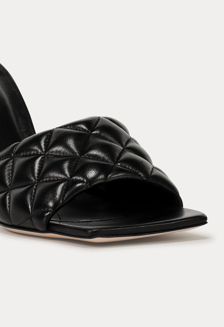 Choice Squared Toe Quilted Mules Black - Wardrobe Fashion