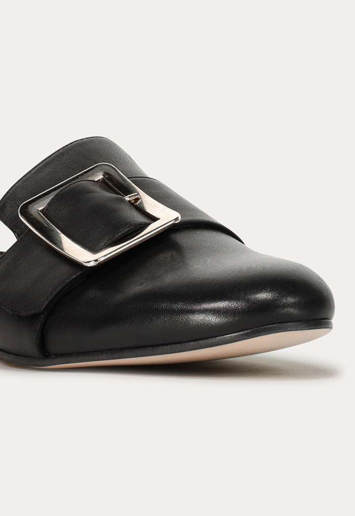 Choice Round Toe Buckled Flat Mules Black - Wardrobe Fashion
