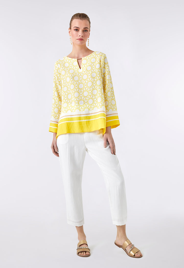 Choice Round Neck Printed Linen Blouse  Yellow Print - Wardrobe Fashion