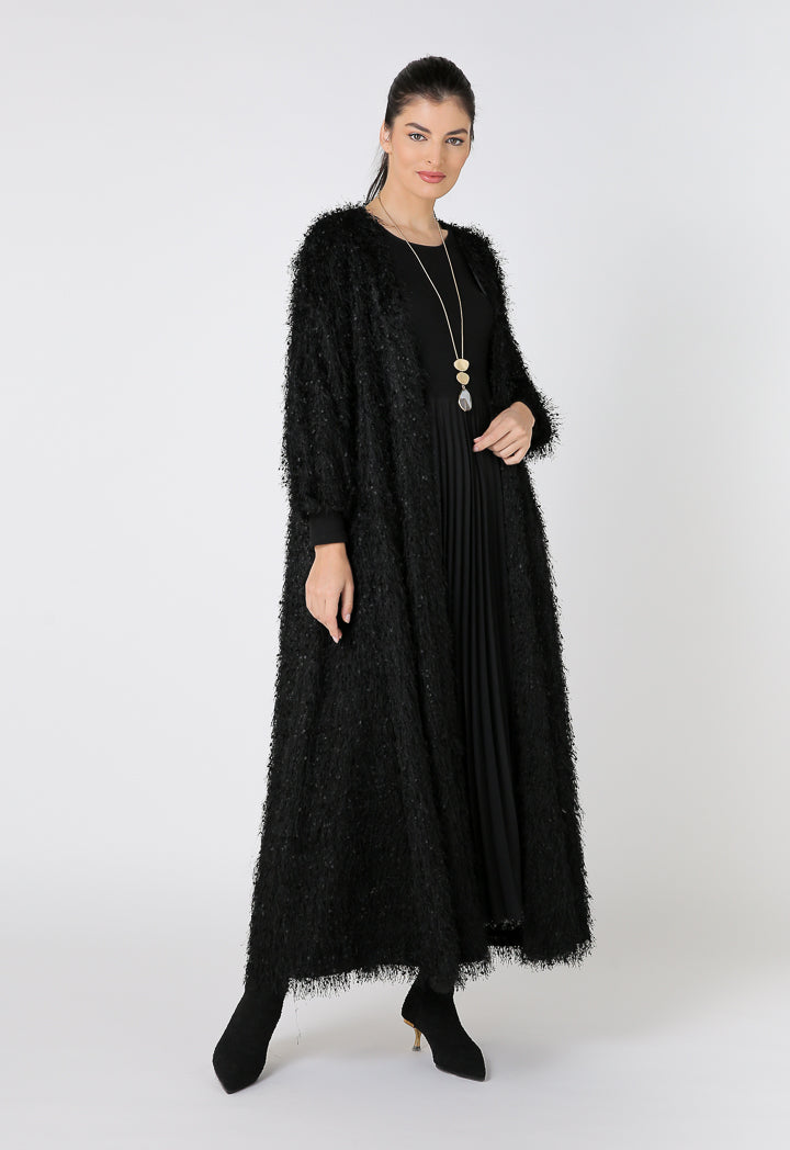 Choice Full Fringed Maxi Outerwear Black