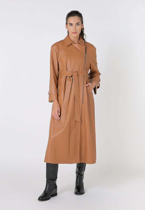 Choice Faux Leather Motorcycle Long Coat Jacket Terracotta