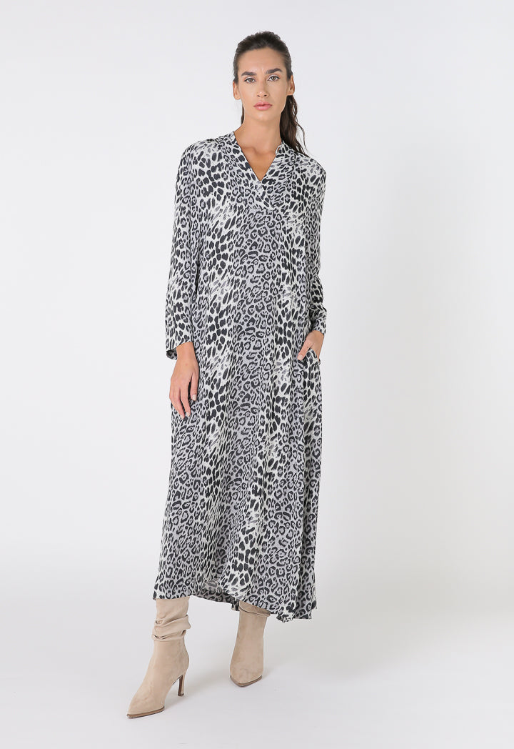 Choice Animal Print High Low Maxi Dress Black