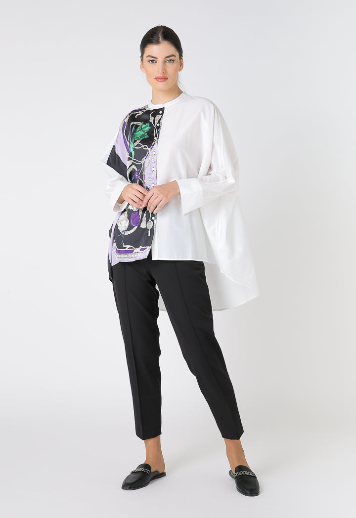 Choice High Low Wide Casual Shirt Multi Color