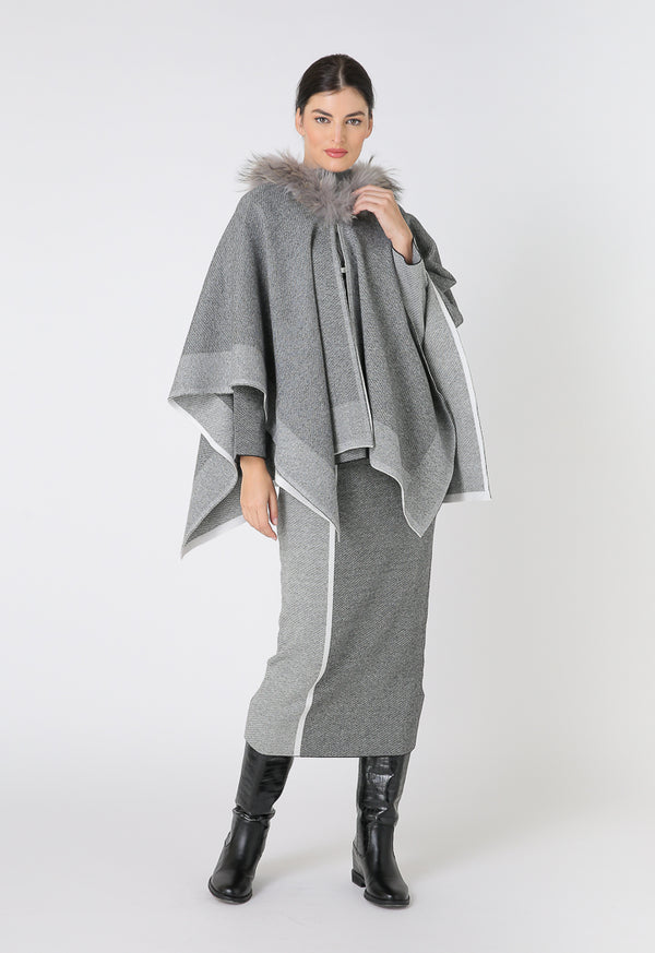Choice Color Block Knitted Faux Fur Poncho Dark Grey-Grey