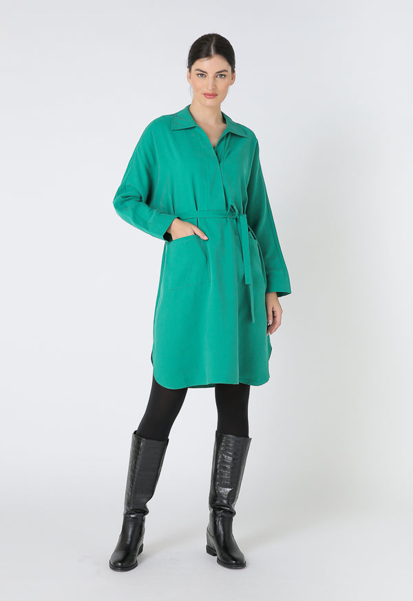 Choice Basics Long Sleeve Mini Dress Green