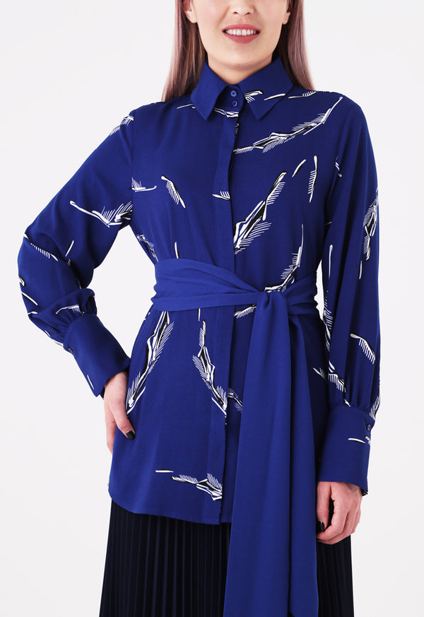 Choice Printed Belted Shirt Cobalt
