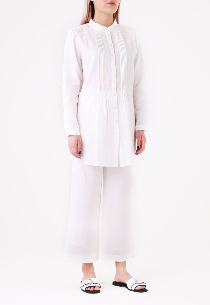 Choice Pintuck Detailed Shirt  Off White