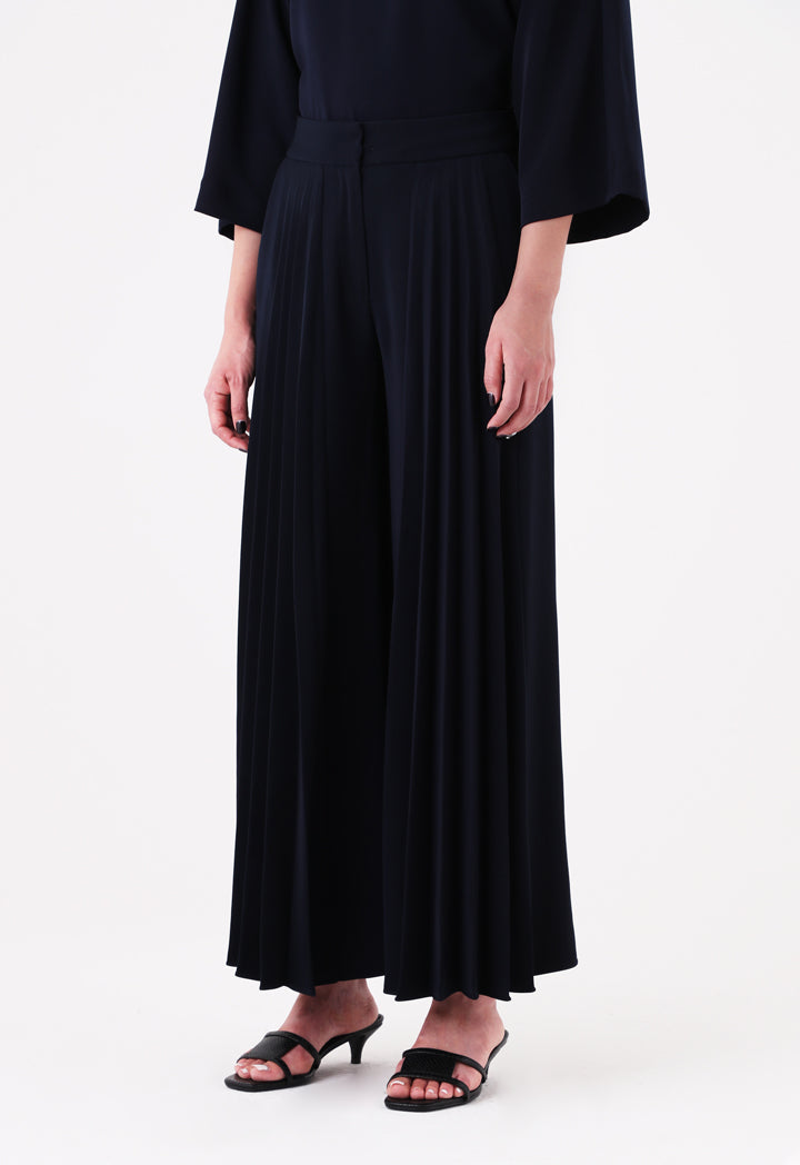 Choice Front Pleated Wide Leg Trouser Navy