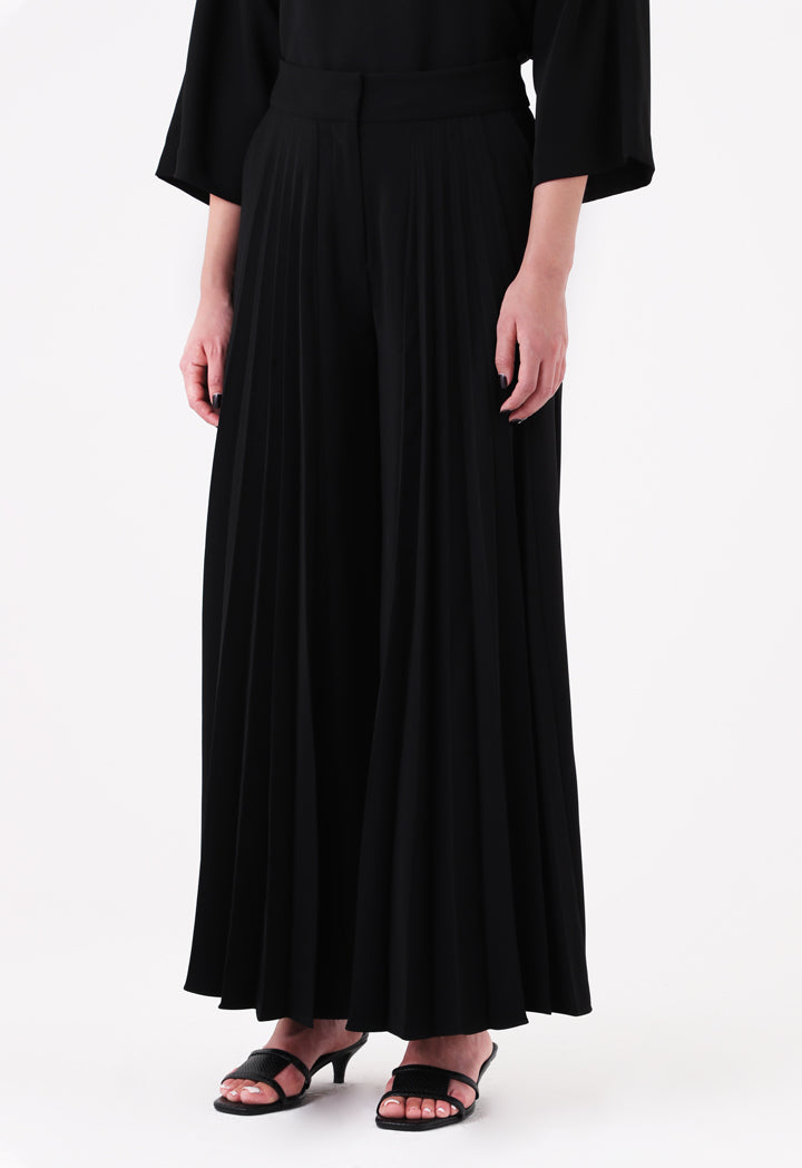 Choice Front Pleated Wide Leg Trouser Black