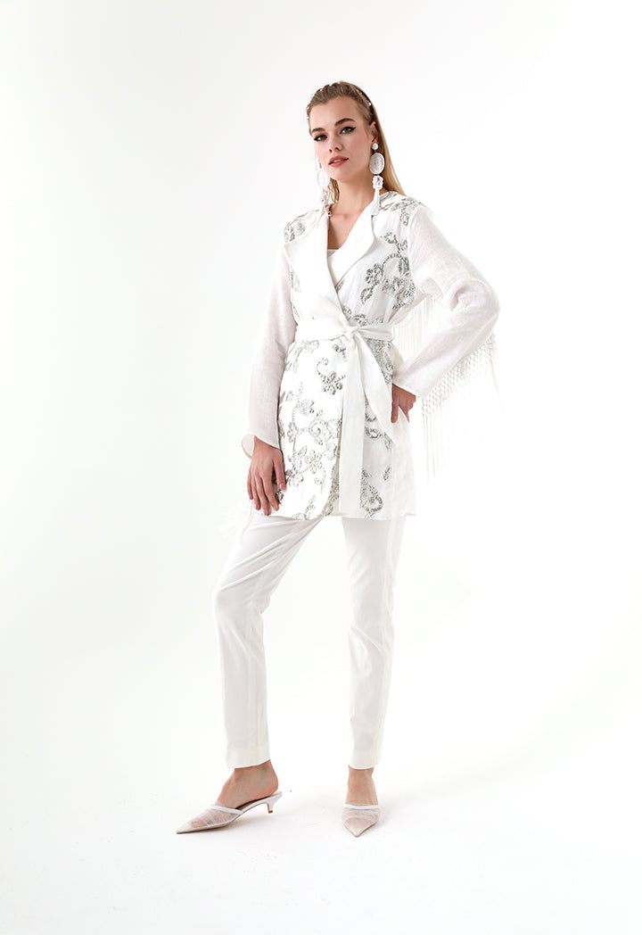 Choice Sequins Embroidery Kimono Jacket White - Wardrobe Fashion