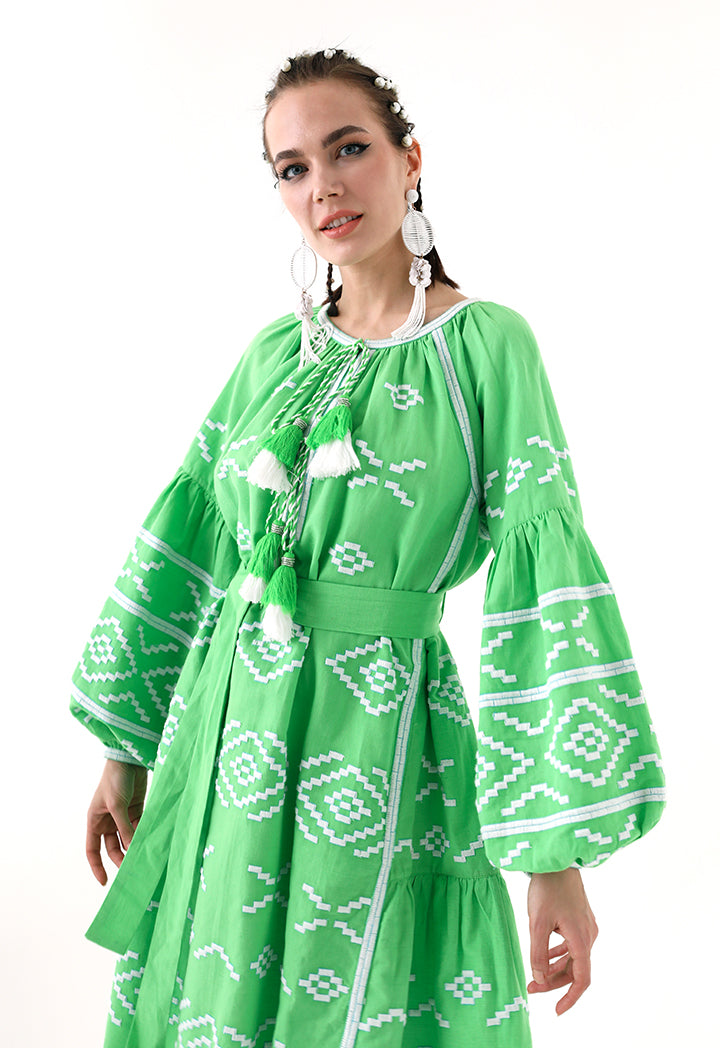Choice Embroidered Linen Midi Dress Green - Wardrobe Fashion