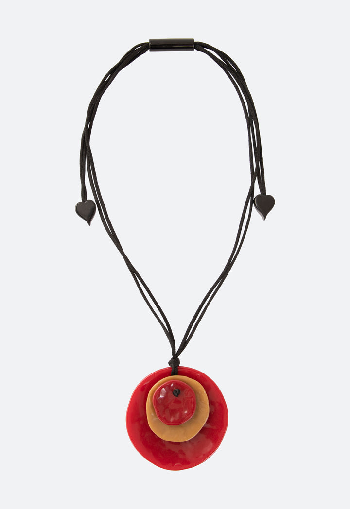 Choice Resin Layer Flat Beads Necklace Red-Beige - Wardrobe Fashion