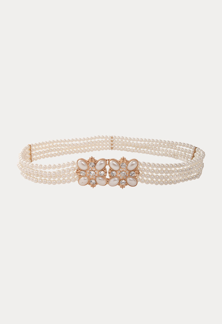 Choice Four Layer Pearl Beaded Waist Belt Offwhite - Wardrobe Fashion