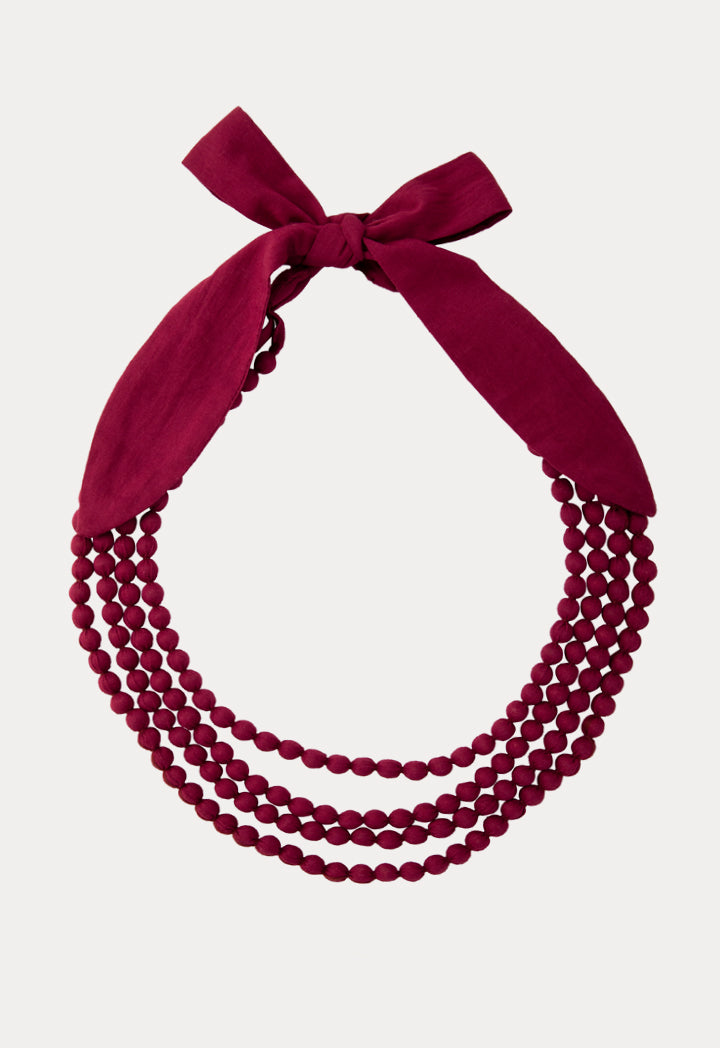 Choice Fabric Beaded Layered Necklace Burgundy - Wardrobe Fashion