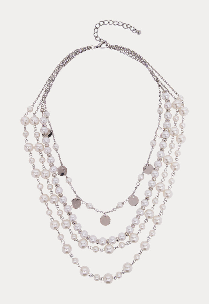 Choice Multi Strand Pearl Bead Necklace Offwhite - Wardrobe Fashion