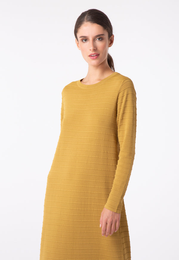 Choice Knitted Embossed Stripe Dress Olive