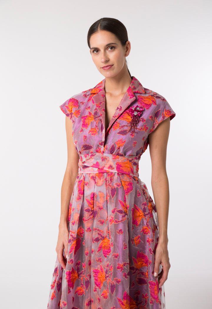 Choice Floral Embossed Organza Dress Fuchsia Floral