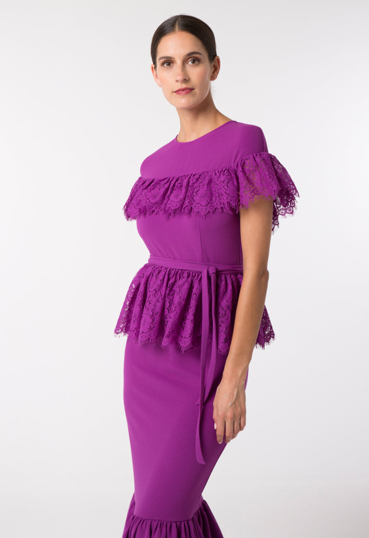Choice Lace Trim Tiered Dress Purple