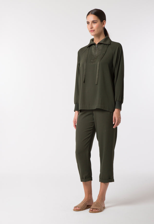 Choice Tie Split-Neck Crepe Blouse Olive