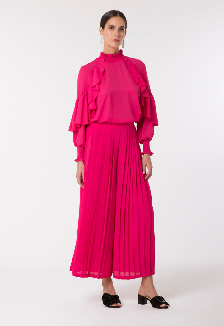 Choice Elegant Ruffle Sleeve Blouse Hot Pink