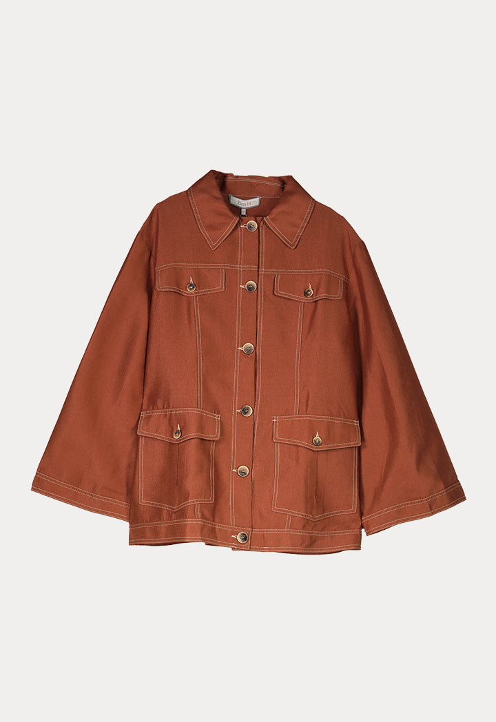 BERRIN Long Sleeve Four Pocket Jacket  COPPER