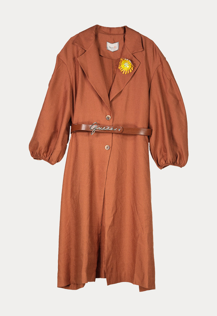 BERRIN Embellished Lapel Long Belted Coat CAMEL