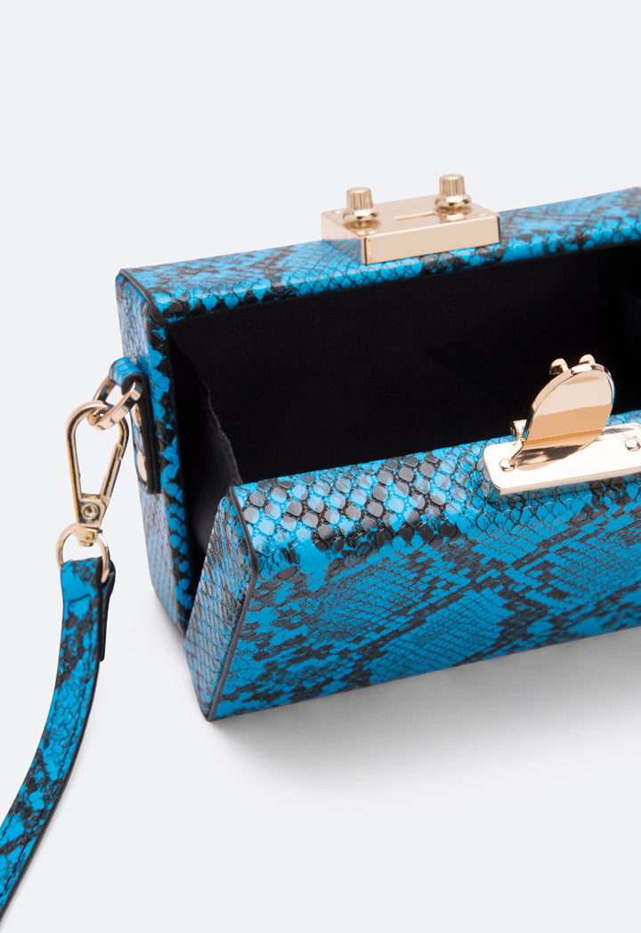 Choice Snake Skin Pattern Clutch Bag Blue - Wardrobe Fashion