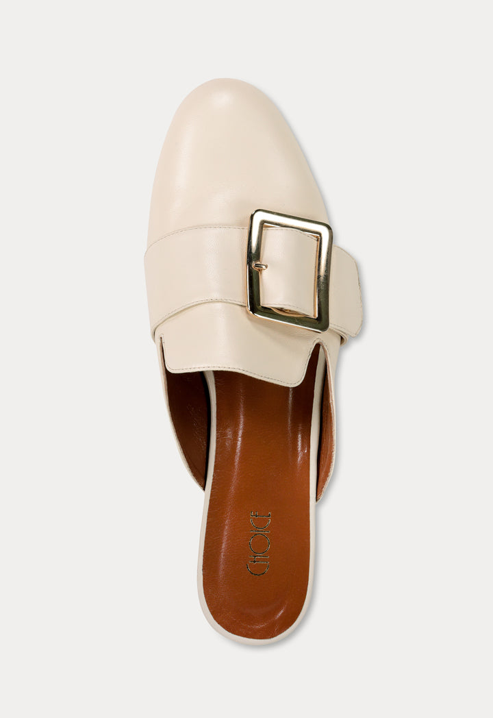 Choice Round Toe Buckled Flat Mules Cream - Wardrobe Fashion