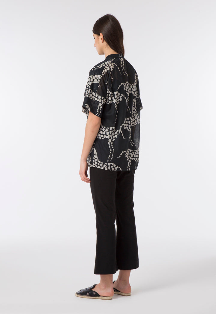 Choice Mosaic Horse Print Blouse Black