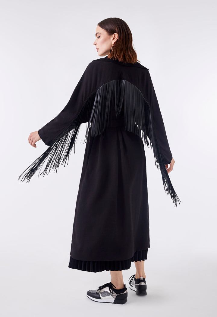 Choice Double Breasted Fringe Back Outerwear Black - Wardrobe Fashion