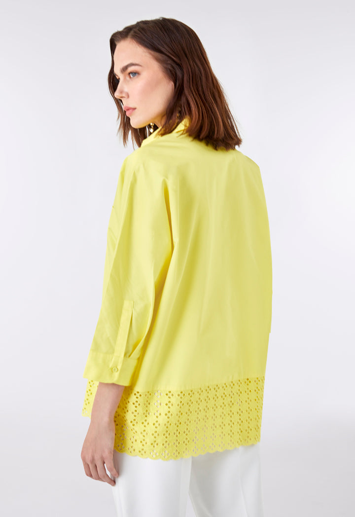 Choice Schiffli Lace Hem Shirt Yellow - Wardrobe Fashion