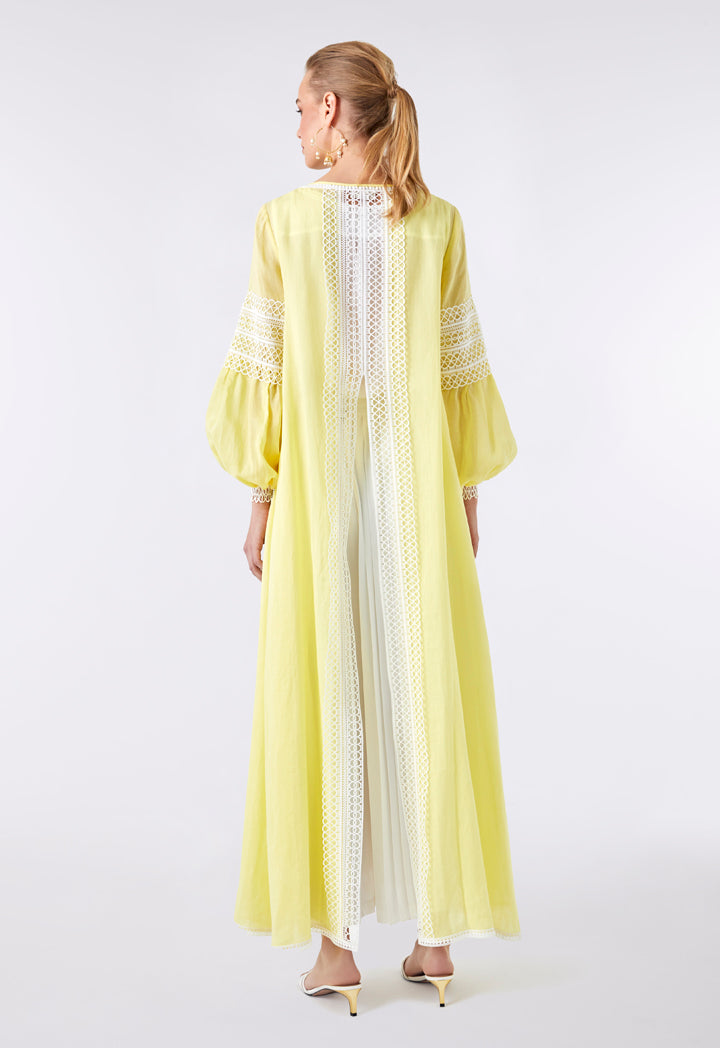 Choice Lace Embroidered Maxi Outerwear Yellow - Wardrobe Fashion