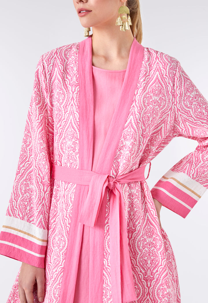 Choice Long Printed Pink Kimono Pink Print - Wardrobe Fashion