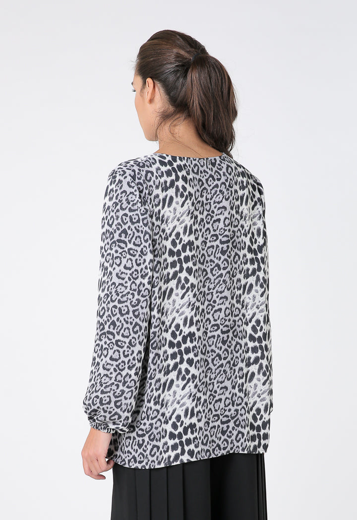 Choice Animal Print Keyhole Neckline Blouse Black