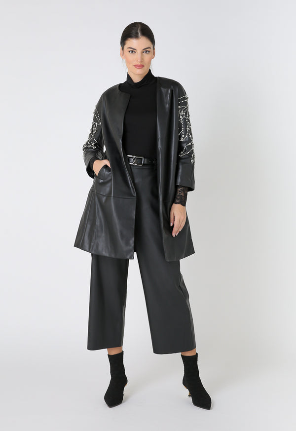 Choice Embellished Sleeves Motorcycle Long Jacket Black