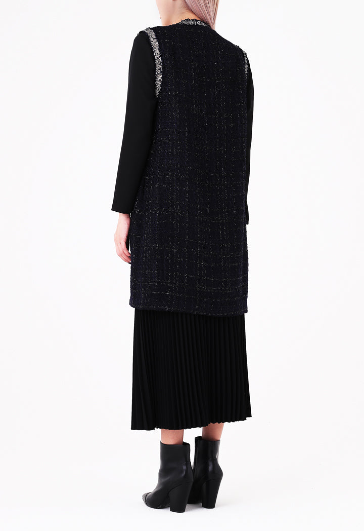Choice Sleeveless Tweed Outerwear Navy