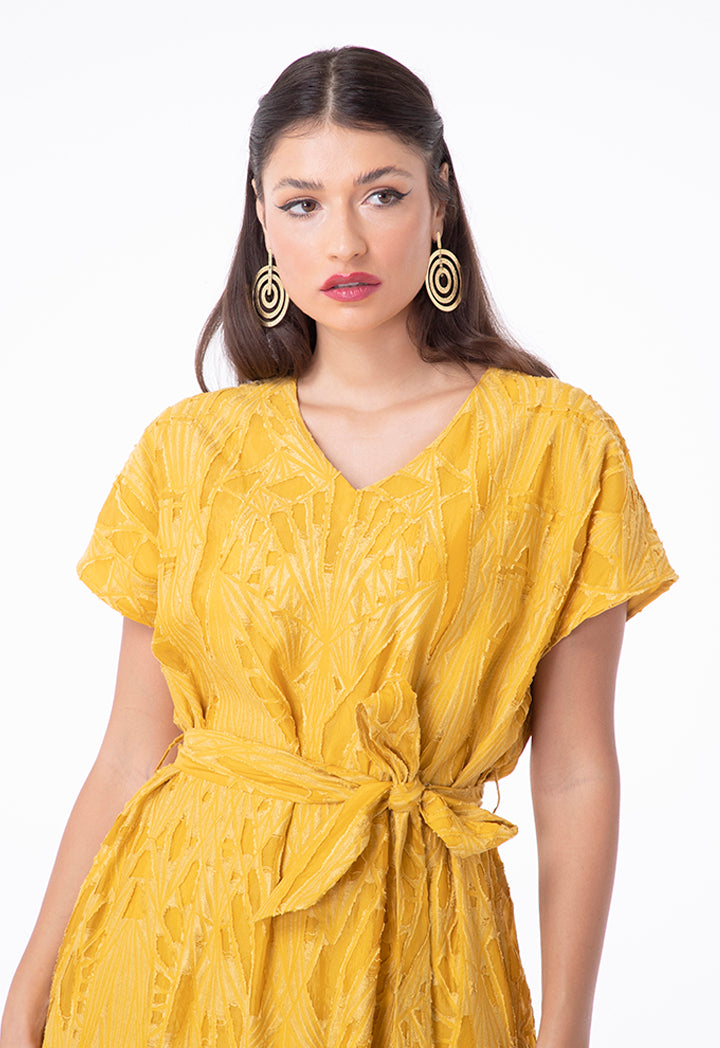 Choice Embroidered Organza Shirred Bottom Dress Yellow