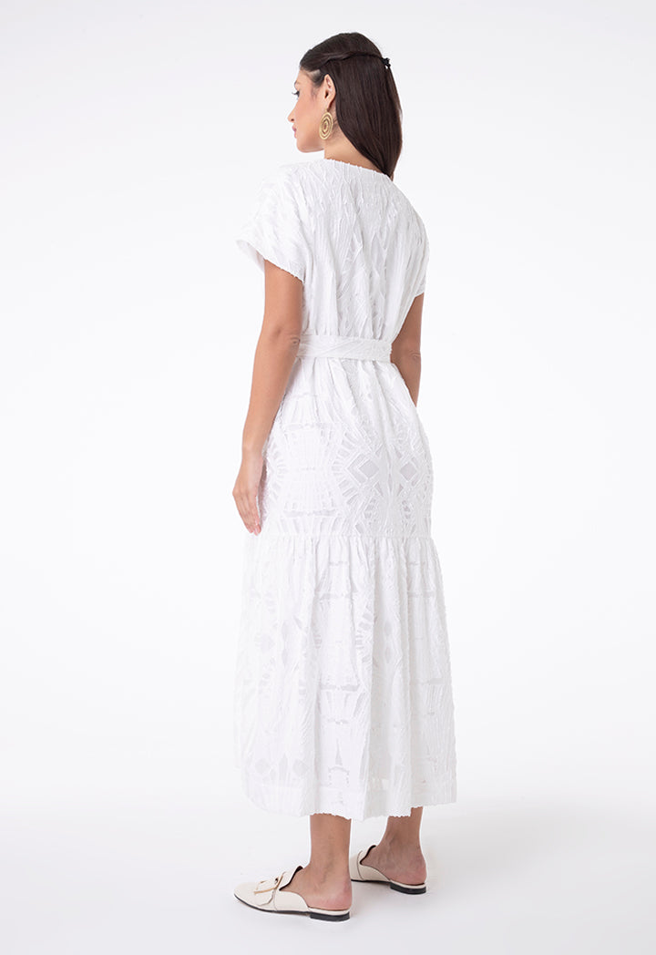 Choice Embroidered Organza Shirred Bottom Dress Off White