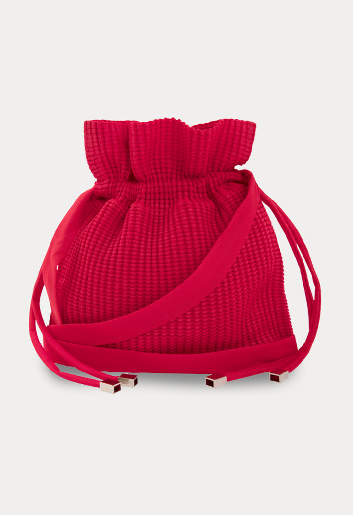 Choice Textured Drawstring Pouch Bag Red - Wardrobe Fashion