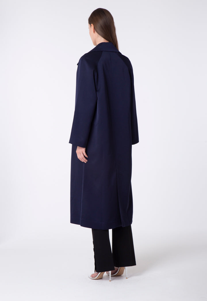 Choice Notched Collar Wrap Outerwear Navy