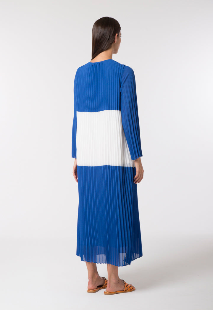 Choice Pleated Color Block Dress White Sapphire